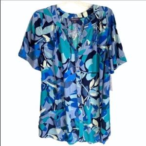 Roaman's floral abstract print button down 12W